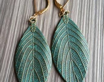 Leaf Drop Earrings Verdigris Leaves Antique Bronze jewelry valentines present woodland wedding theme Dangle earring stocking stuffer
