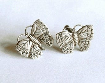 Vintage Sterling Silver Butterfly Screw Back Style Earrings