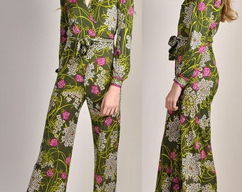 Rare Pucci Silk Jersey Jumpsuit Made in Italy Circa 1970 Vintage So Very Jet Set Jumpsuit Romper H6