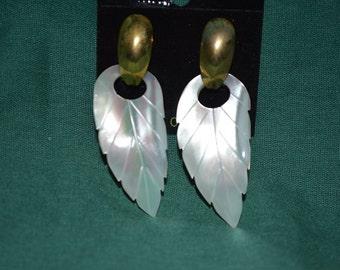 Beautiful Vintage Mother of Pearl Carved Door-Knocker Earrings (1017152)