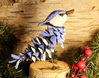 Blue Jay Pinecone Adirondack Figurine