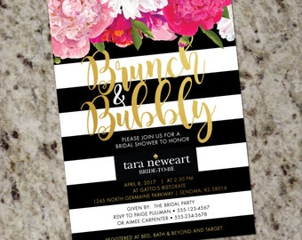 Brunch & Bubbly Bridal Shower Invitation | Floral Bridal Shower Invitation | Kate | Stripes Striped Invite | Gold | Print Your Own | Spade
