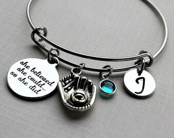 softball bracelet, personalized softball bracelet, softball charm bracelet, softball bangle, softball player gift, softball theme gift