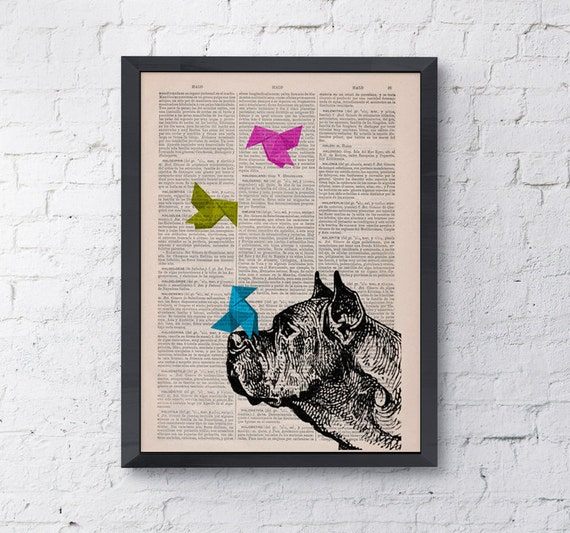 Funny pet, Origami Great French Mastiff, Wall art, Wall decor, Digital prints animal, Giclée, Vintage Book sheet, Nursery wall art,  ANI134