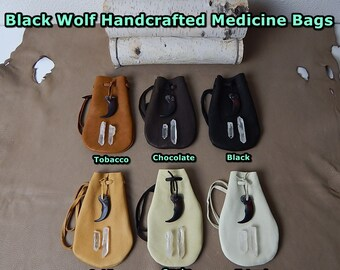 Medicine Bag, Medicine Pouch, Medicine Bag Necklace, Leather crystal pouch, Leather amulet bag, Leather Pouch