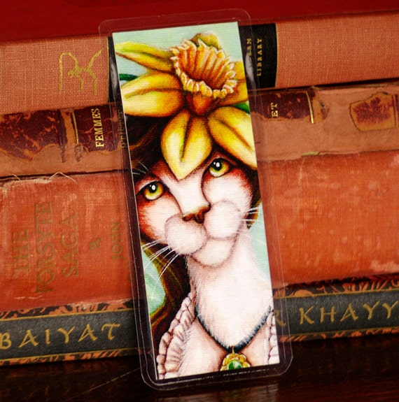Daffodil Flower Fairy Cat Bookmark