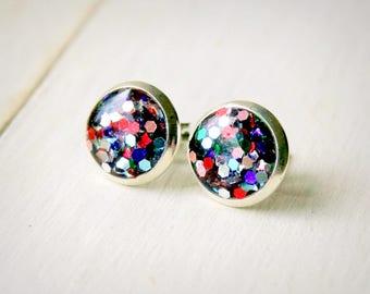 glitter stud earrings, resin post earrings, rainbow glitter, sparkle earrings, silver studs, colorful jewelry, gift for teens