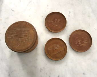 Vintage Asian Wooden Box and 3 Coasters Japanese Wood Mid Century Jewelry