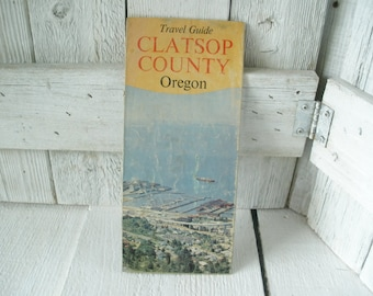 Vintage Oregon Coast travel guide Clatsop County folded 1967- free shipping US