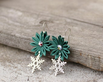 Green Christmas earrings with charms Christmas jewelry Green earrings Xmas earrings Snowflake earrings Xmas gift Coworker gift