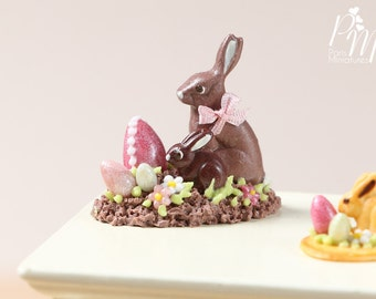 MTO-Chocolate Easter Rabbit Family Display (G) - Miniature Food in 12th Scale for Dollhouse