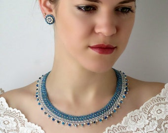 Something blue for bride, Blue wedding jewelry, Blue jewelry set, Blue bead necklace, Blue stud earrings, Seed bead necklace, mom gifts
