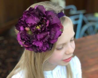 Deep Purple Big Flower Headband, Girls Purple Headband