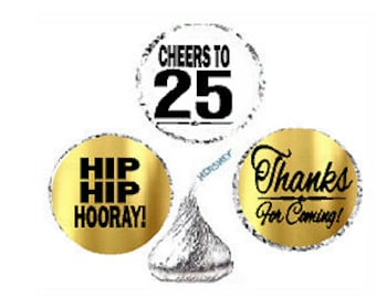 25th Birthday Anniversary Hooray Thanks For Coming Stickers / Labels for  Hershey's Kisses Party Favors Decorations - 216pk