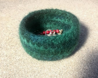 Small Green Felted Bowl