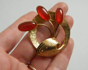 Vintage 1960s Gold Tone Brooch with Orange Glass