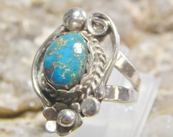 Native American Sterling Turquoise Ring signed PN
