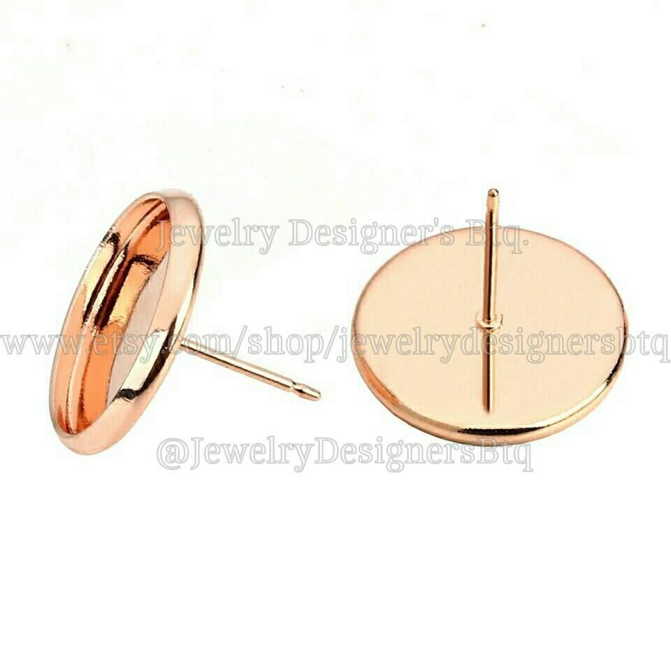 20pcs 10mm Bezel Rose Gold Cabochon Settings Stud Earrings