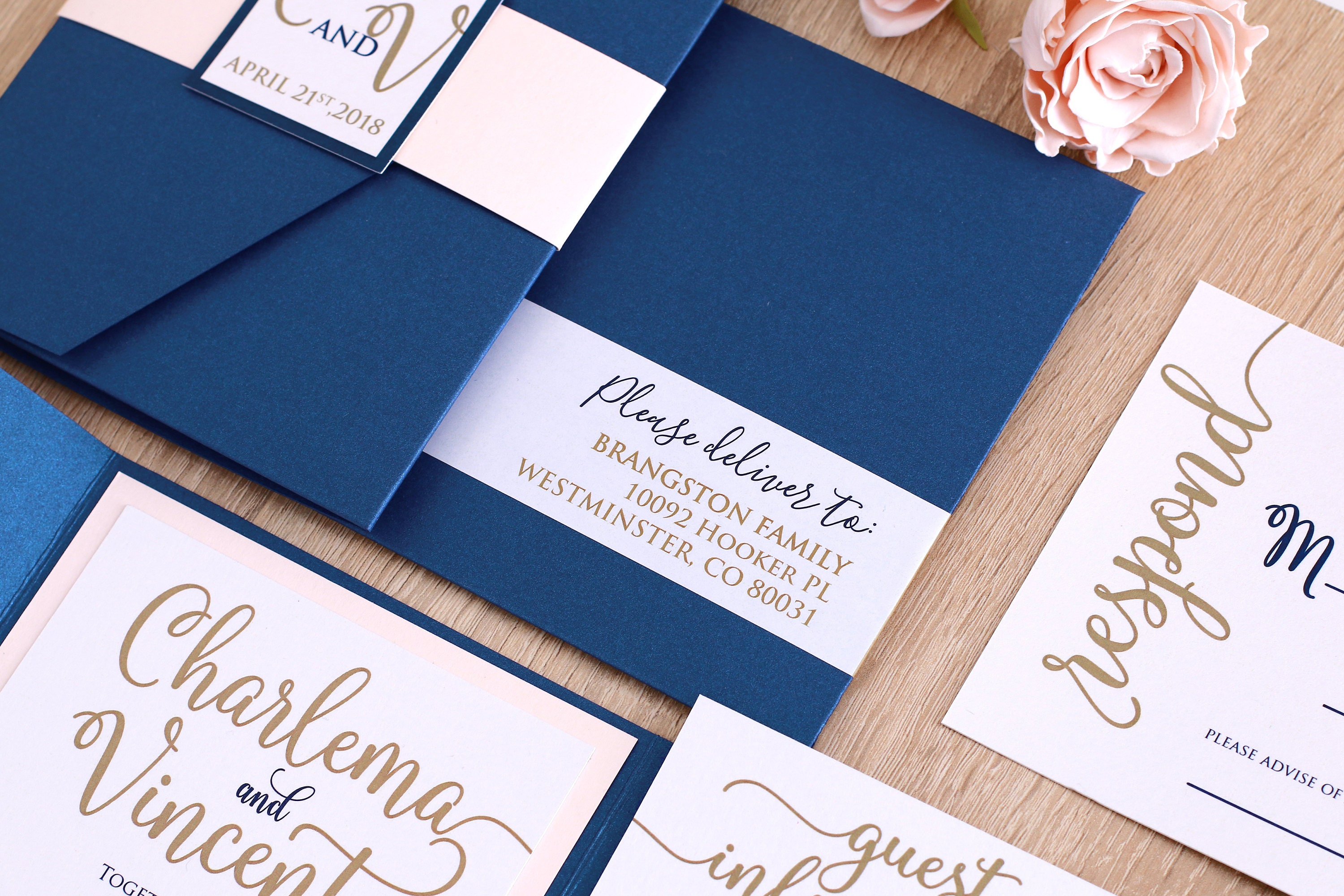 Navy And Gold Wedding Invitations: Blush And Navy Wedding Invitation Suit Navy And Gold Wedding