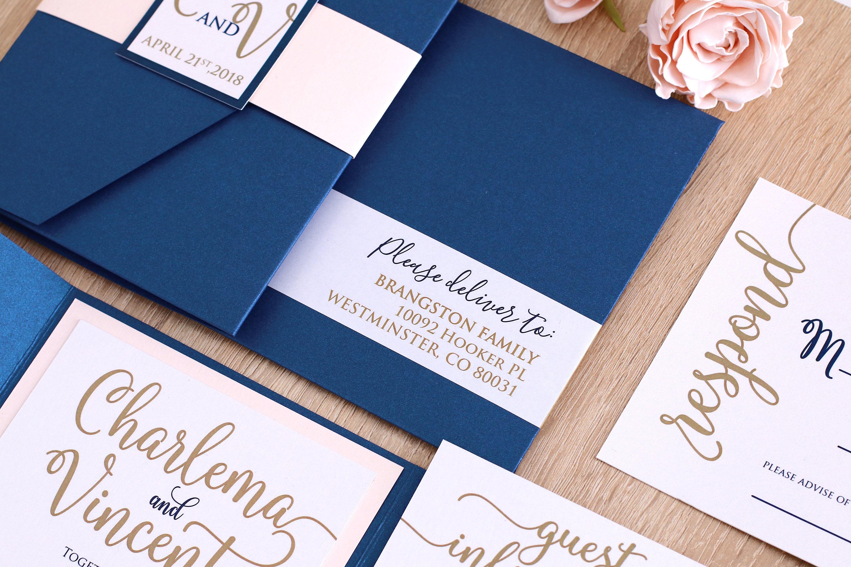 Navy Wedding Invitations: Blush And Navy Wedding Invitation Suit Navy And Gold Wedding