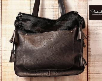 Black cowhide tote cow hide bag black leather tote fur tote bag soft leather shopper light tote bag, cowhide leather tote,