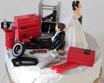Humorous Wedding Cake Topper, Funny Mechanic Grooms Cake Topper, Unique Bride and Groom Cake Topper