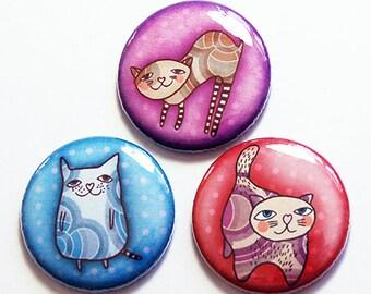 Bunte Katzen Magnet Set, Magnet Trio, Knopf Magnete, Küche Magnete, Geschenk