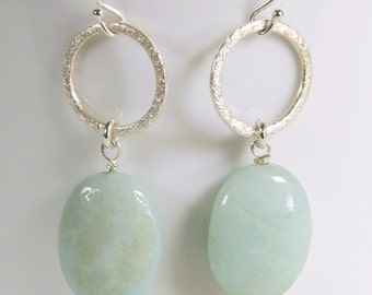 Sterling Silver Earrings, Amazonite, Green, Circles