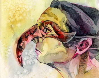 Original Watercolor Painting of Woman in Mask - Midnight Issues - Beautiful Pastel Mask Painting