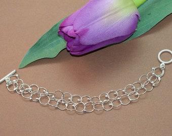 Two Strands of Sterling Silver Handmade Chain Bracelet