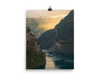 Geirangerfjord In The Rain - Photo Print