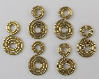 Brass spiral charms or dangles, 6pcs in 20ga wire, hand crafted jewelry supplies, more available, versatile jewellery supplies.