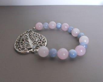 Leaf bracelet in aquamarine, Rose Quartz and a silver metal