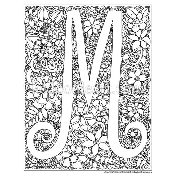 instant digital download adult coloring page letter M