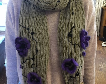 Hand felted pansy & anemone scarf