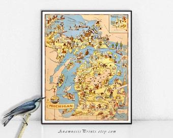MICHIGAN impression carte - image vintage carte à encadrer - lunatique pendaison de crémaillère - illustratrice Ruth Taylor White - fun décoration vintage