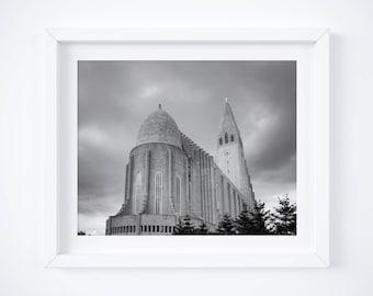 Reykjavik print - Black and white travel photography - Icelandic church photo - Framed fine art - Travel decor - Architecture art - Iceland