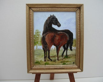 Miniature one 12th scale painting, of a Mare and her foal.