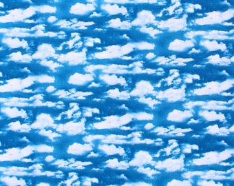 Landscape Blue Sky Clouds Elizabeth Studio 505 100% Cotton Fabric FQ 1/2 Metre