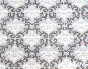 Minky fabric by the yard- Romance Cuddle Vine Damask dusty blue and charcoal - damsk cuddle one yard
