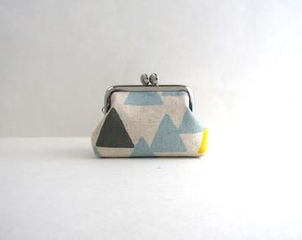 Blue Mountain Coin Purse Frame Mini Pouch Mini Jewelry Case with Ring Pillow