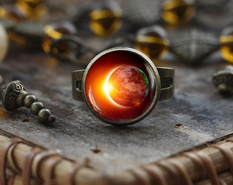Solar Eclipse ring, Space Jewelry, Galaxy ring, Eclipse ring, Science ring, Earth moon, Outer Space Sun Moon Lunar Jewelry, sun planet ring