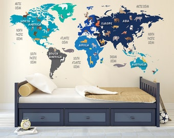 World map decal etsy publicscrutiny Gallery
