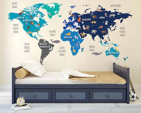 Colorful animal world map decal clear vinyl decal kids gumiabroncs Images