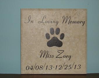 In Loving Memory, personalized, pet memorial Tile