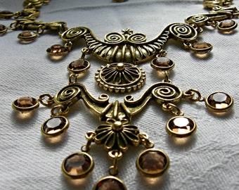 GOLDETTE BIB NECKLACE | Egyptian Revival Statement Necklace | Gold Tone Topaz Tone Crystal | Unsigned Goldette | Vintage 1958 - 1977