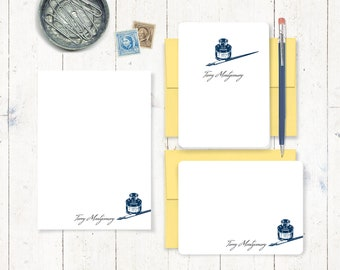 complete personalized stationery set - VINTAGE PEN and INKWELL - custom personalized stationary - note cards - notepad - choose colors