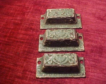 "Three Art Nuveau/ Eastlake Pattern Drawer or Bin Pulls 2 7/8"" Mounting Centers 3 -1/4""  X  1-3/8""  Chippy Green Paint"