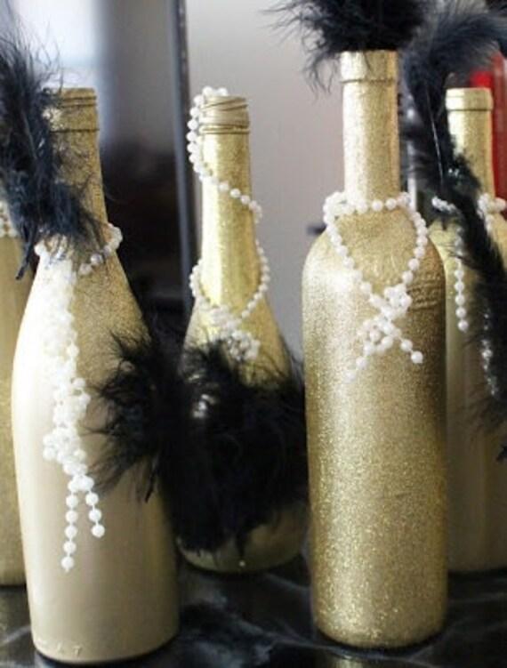 wedding centerpiece wine bottle set great gatsby feathers. Black Bedroom Furniture Sets. Home Design Ideas