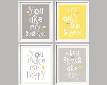 Yellow and Gray Art Prints You Are My Sunshine Nursery Wall Art Baby shower gift Set of 4 8x10 prints  016